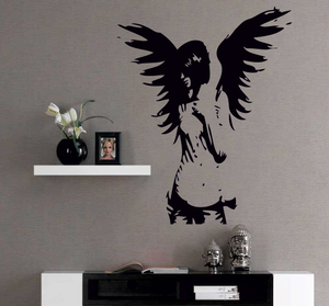 Väggdekor -Angel 80 x 100 cm, svart dekor