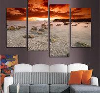 Väggkonst -Tre paneler med motiv Sunrise på Canvasduk