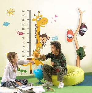 Väggdekor -Mätsticka med motiv av bl.a. Giraff och Apa, 180 x 88 cm