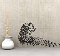 Väggdekor -Tiger 70 x 120 cm, svart dekor