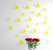 3D Fjärilsdekor -Gul
