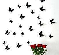 3D Fjärilsdekor -Svart