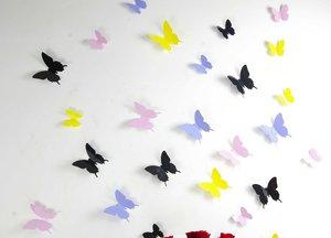 3D Fjärilsdekor -Mixade färger