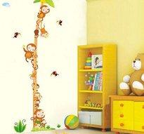 Väggdekor -Mätsticka med motiv av bl.a. Palm och Apor, 170 cm hög