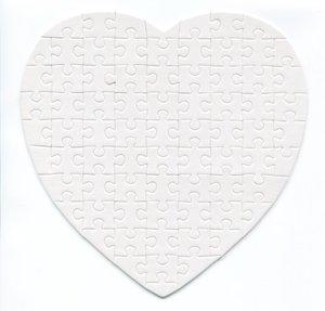 Pussel med DITT eget tryck -Hjärtformat