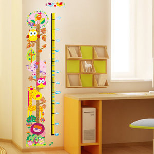 Väggdekor -Mätsticka med motiv av bl.a. ugglor, 170 x 25 cm