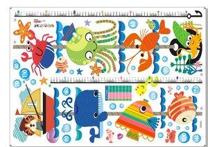 Väggdekor -Mätsticka med motiv av bl.a. Sjödjur, 170 x 25 cm