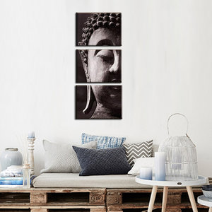 Väggkonst -Tre paneler med motiv Buddha på Canvasduk