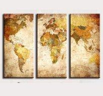 Väggkonst -Tre paneler med motiv Världskarta på Canvasduk