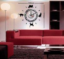 Klocka med vinyldekor -Svarta katter