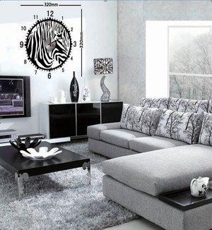 Klocka med vinyldekor -Zebra